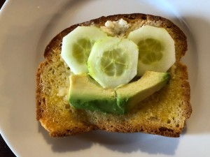 My daughter's avocado and cucumber toast